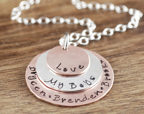 Love my Kids, Personalized Mom Necklace, Mom of Boys, Custom Name Necklace, Love MyBoys, Mother's Necklace, Gift for Mom, Gift for Her
