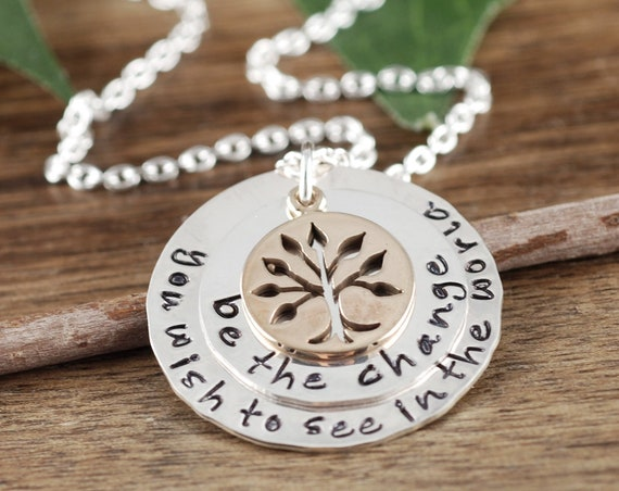 Be the change Necklace, Inspirational Necklace, Graduation Necklace, Gift for Graduate, Family Tree Necklace, Hand Stamped Necklace