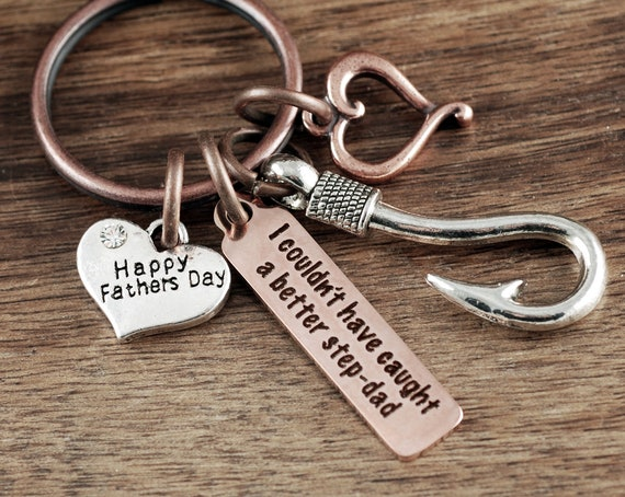 Step Dad Fishing Gift, Personalized Dad Keychain, Step Dad Keychain, Gift for Step Dad, Father's Day Gift, Fishing Keychain, Gift for Him