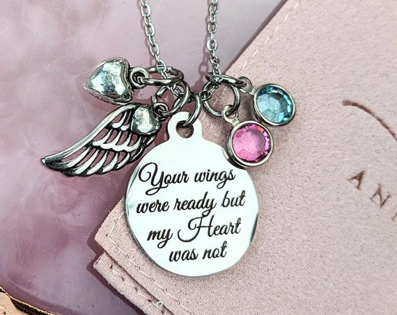 Personalized Memorial Necklace, Your wings were ready my Heart was not, Remembrance Necklace, In Memory Of Mom, Loss of Parent, Angel Wing