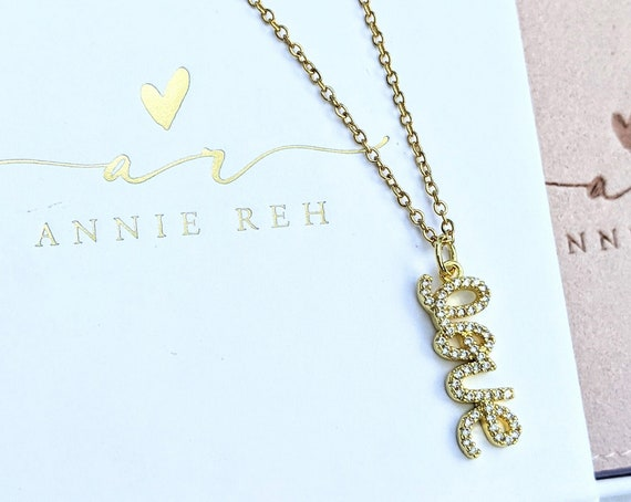 Crystal Love Necklace, Love Charm Rhinestones, Valentines Day, Anniversary Necklace, Birthday Gift, Necklaces for Women, Mother's Day Gift