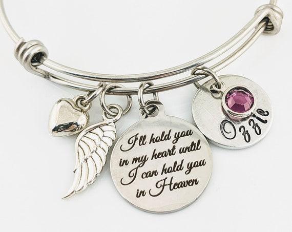 I'll hold you in my Heart Memorial Bracelet, Personalized Bracelet, Memorial Miscarriage Bracelet, Remembrance Bracelet, Loss of Parent