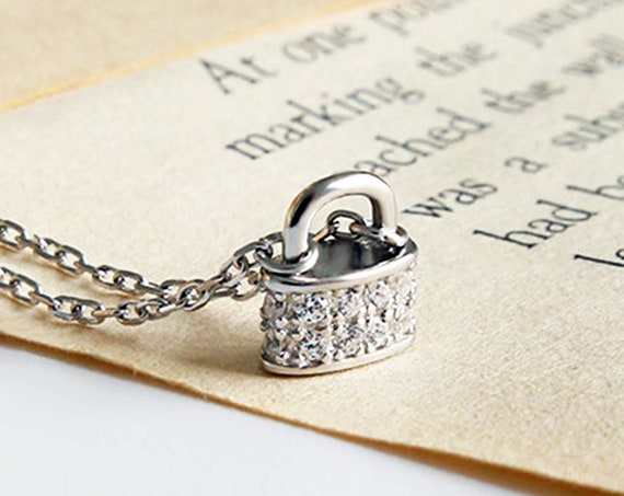 Tiny Crystal Padlock Pendant Necklace, Dainty silver Lock Necklace, Sterling Silver Cubic Zirconia, Rhinestone CZ Padlock Pendant Necklace