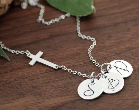 Personalized Cross Initial Necklace, Silver Initial Necklace, Script Initial Disc, Cursive, Sideways Cross Necklace, Initial Pendant