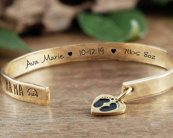Personalized Mama Bear Jewelry, Baby Stats, Mama Bear Cuff Bracelet, Custom Cuff Bracelet, Mother's Bracelet, Mama Bear Gift for Mom