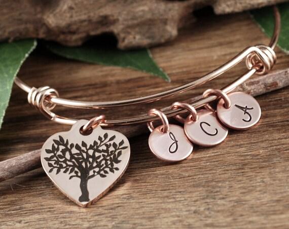Rose Gold Personalized Family Tree Bracelet, Family Bracelet for Grandma, Gift from Grandkids, Personalized Gift for Nana, Gift for Mimi