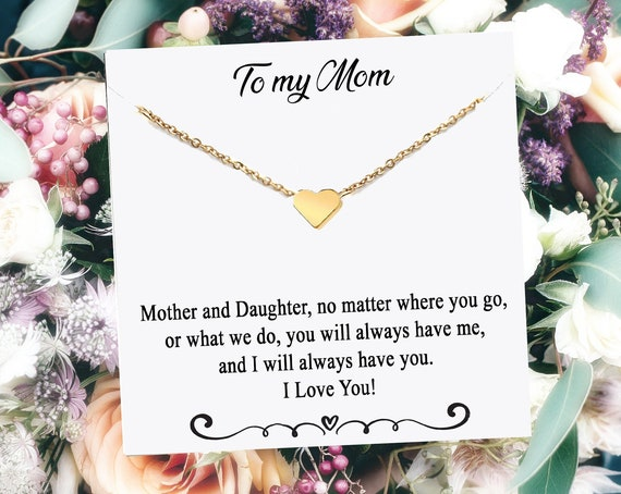 Mother's Day Gift for Mom, Meaningful Gift from Daughter, Gold Heart Necklace, Mom Necklace, Heart Jewelry for Mom, Mom Gift, Gift for Mom