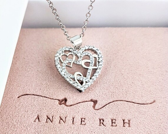 Interlocking Heart Necklace, Silver Heart Necklace, Gift for Daughter Necklace, Valentines Day Necklace, Best Friend Gift, Mother's Necklace