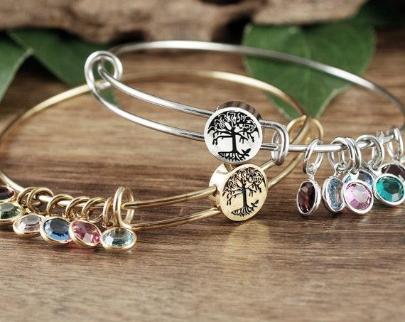 Personalized Bangle Bracelet with Birthstones, Grandmother Bracelet with Charms, Custom Tree of Life Bracelet, Charm Bracelet for Women