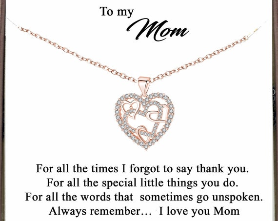 Mother's Day Gift for Mom, Birthday Gift for Mom, Interlocking Heart Necklace, Mom Necklace, Mother's Day Gift, Message Card Gift for Mom
