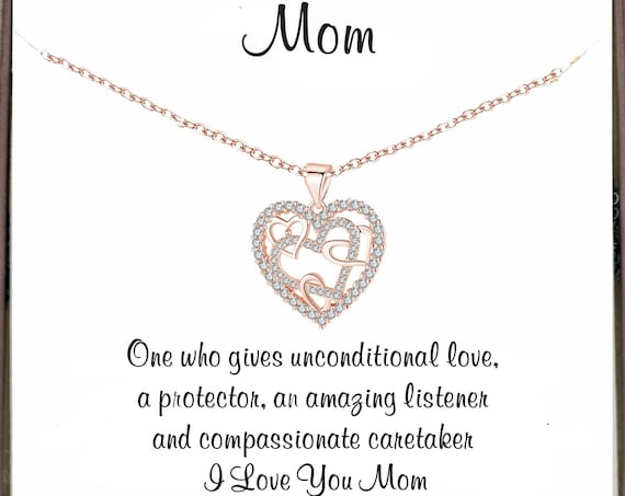 Meaningful gift for Mom, Mother's Day Gift for Mom, Interlocking Heart Necklace, Mom Necklace, Mother's Day Gift, Message Card Gift for Mom