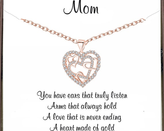 Mother's Day Gift for Mom, Meaningful gift, Rose Gold Interlocking Heart Necklace, Mom Necklace, Mother's Day Gift, Mother's Birthday Gift