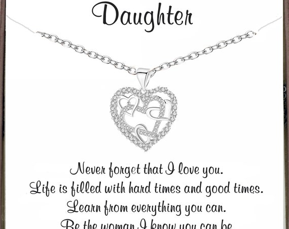 Daughter's Birthday Gift, Inspirational gift for Daughter, Silver Interlocking Heart Necklace, Daughter Necklace, Daughter Gift