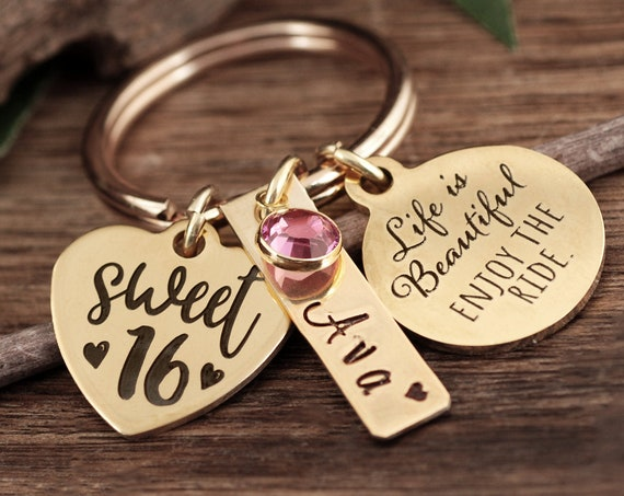 Sweet 16 Gift for Daughter, Personalized Sweet 16 Keychain, Life is Beautiful Enjoy the Ride, Sweet Sixteen Jewelry, Gift for Teenager