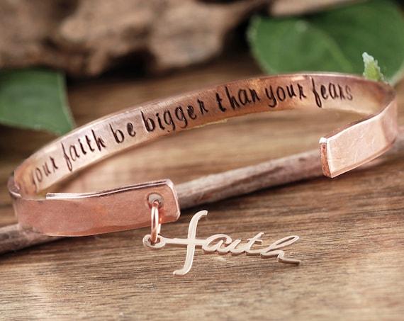 Faith over Fear Bracelet, Faith Bracelet Gift, Religious Quote Bracelet, Inspirational Bracelet, Spiritual Gift for women, Religious Jewelry
