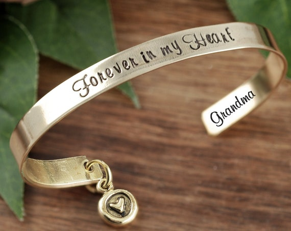 Forever in my Heart Cuff, Personalized Memorial Bracelets, Sympathy Gift, Loss of Parent Gift, Remembrance Jewelry, Loss of Loved One