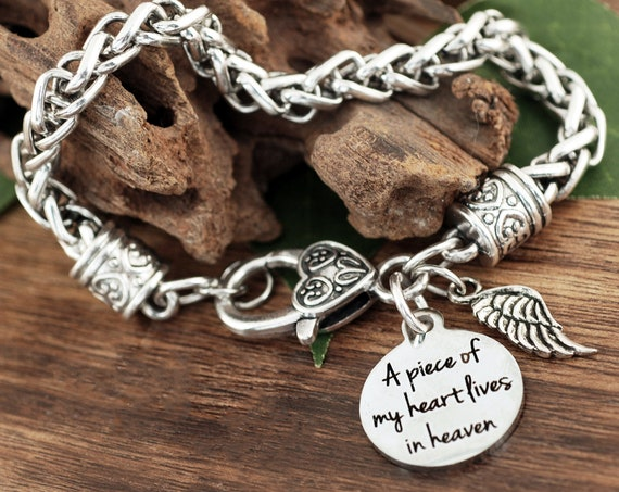 A Piece Of My Heart Is In Heaven Bracelet, Memory Gifts, Remembrance, Loss of Loved One, Angel Wing Jewelry, Bereavement Gift, Memorial Gift