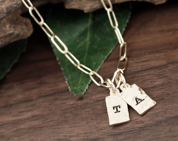 Tiny Tag Initial Necklace, Personalized Necklace, Tag Initial Necklace, Delicate Necklace, Layering Necklace, Initial Necklaces