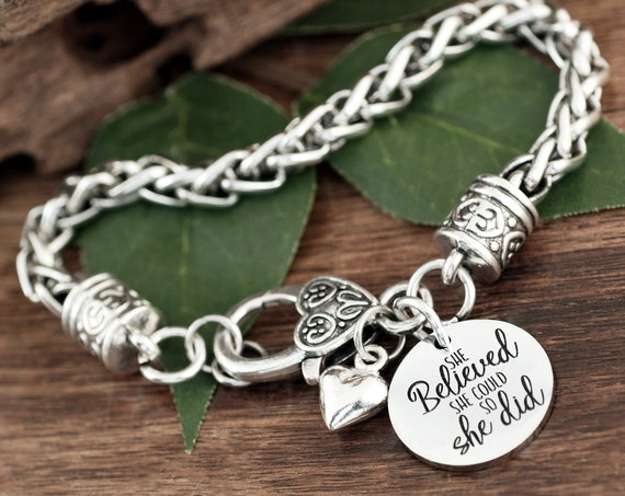 She believed She could so She did, Graduation Bracelet, Gift for Her, Graduation Gift, Class of 2021, Graduation Jewelry, SENIOR 2021