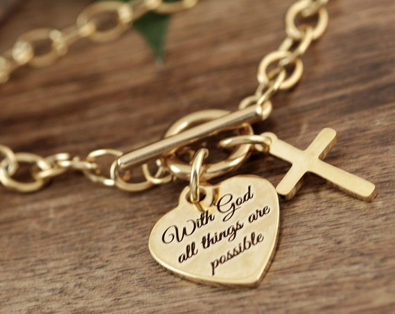 With God All Things Are Possible Jewelry, Christian Charm Bracelet, For Church Friend, Bible Scripture, Inspirational Gift, Bible Jewelry
