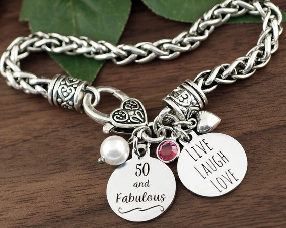 50 and Fabulous, 50th Birthday Gifts for Women, Birthday Jewelry, Best Friend Jewelry, Gifts for HER, friend Birthday Gift, 50th birthday