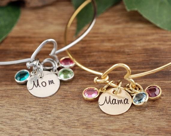 Mother's Day Gift, Birthstone Heart Bracelet, Gift for Grandma, Birthstone Bracelet for Mom, Grandmother Bracelet, GIft for Mom