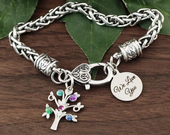 Grandma Bracelet, Tree of Life Bracelet, Birthstone Grandmother Family Tree Bracelet, Gift from Grandkids, Mother's Day, Family Birthstones
