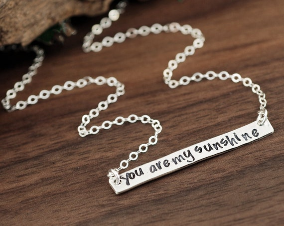 You are my Sunshine Necklace, Sterling Silver Bar, Hand Stamped Jewelry, Bar Necklaces, Mommy & Daughter, My Only Sunshine Necklace