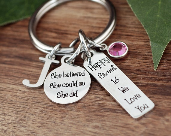 Sweet 16 Gift, Personalized Sweet 16 Keychain, Sweet Sixteen Jewelry, Gift for Teenager, 16th Birthday Gift, Hand Stamped, Sweet 16 Birthday