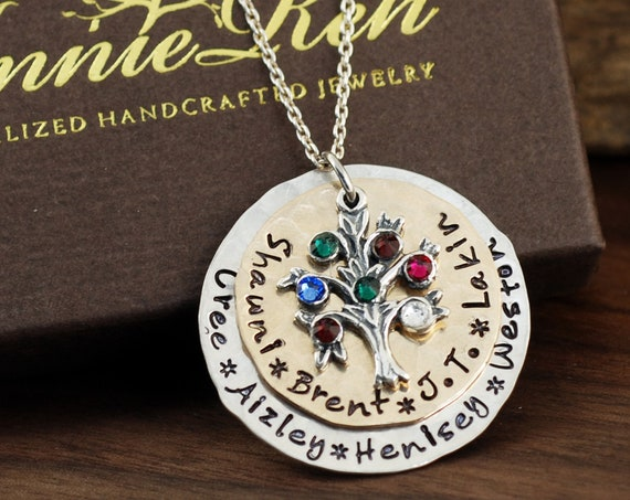 Personalized Family Tree Grandma Necklace, Hand Stamped Necklace, Personalized Necklace, Tree of Life Jewelry, Gift for Grandma, Mothers Day