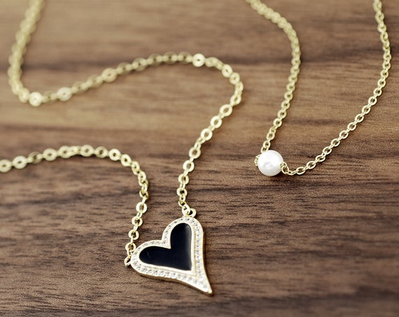 Pave Heart Necklace, Crystal Heart Pendant Necklace, Heart Necklace, Love Necklace, Anniversary Gift, CZ Heart Necklace, Elongated Heart