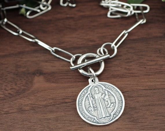 Sterling Silver Charm St. Benedict, Paperclip Chain Necklace, Christian Jewelry, Religious Necklace, Silver Coin Necklace, Saint Benedict