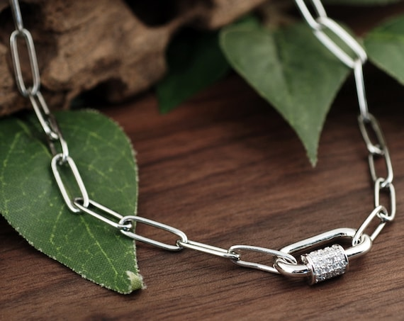 Carabiner Paperclip Necklace, Screw Clasp Chain Link Necklace, Carabiner Jewelry, Silver Link Necklace, Paperclip Chain, Layering Necklace