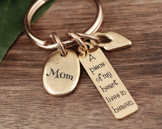 A Piece Of My Heart Lives in Heaven Keychain,Sympathy Keychain, Memorial Keychain, Sympathy Gift For Loss Of Loved One, Bereavement Keychain