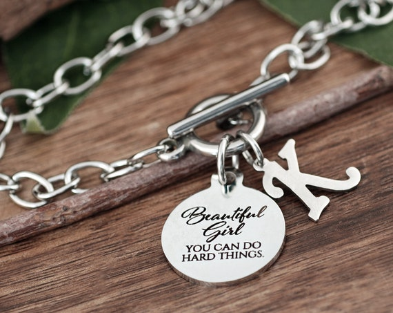 Beautiful Girl, You Can Do Hard Things Bracelet, Encouragement Gift, Daughter Gift, Granddaughter Gift, Graduation Gift, Follow Your Dreams