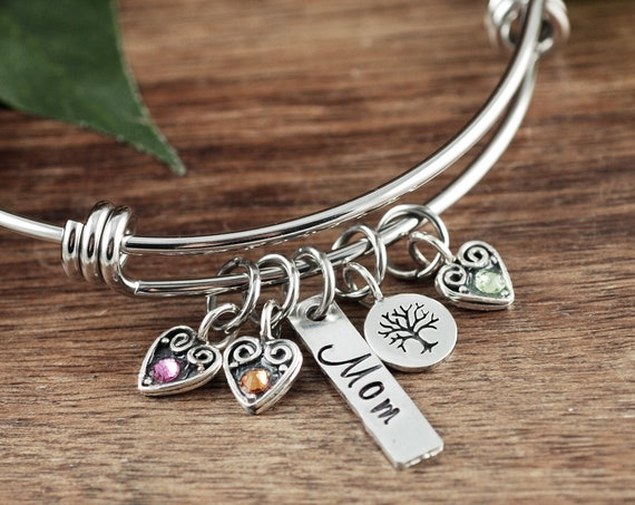 Personalized Mom Bracelet, Family Tree Bracelet, Mother's Birthstone Bangle Bracelet , Bar Jewelry, Mother's Day Gift, Gift for Mom