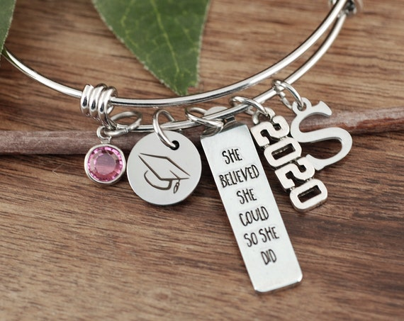 2021 Graduation Bracelet, She believed She could so She did, Graduation Gift, Motivational Gift, College Graduate, Gift for her