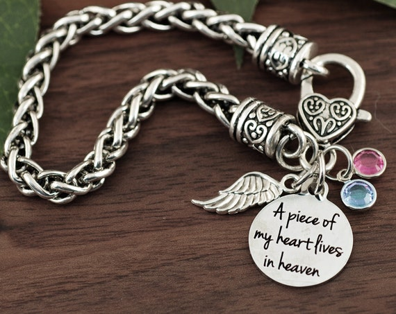 A Piece Of My Heart Lives Heaven Bracelet, Memory Gifts, Remembrance, Loss of Loved One, Angel Wing Jewelry, Bereavement Gift, Memorial Gift