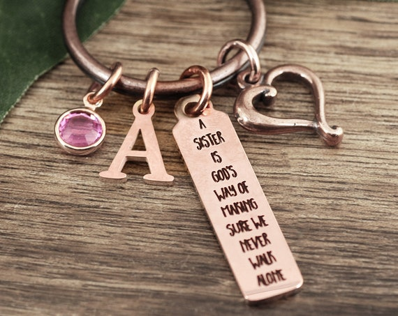 Gifts for Sister, Sister Gift, Sisters Keychain, Sister Birthday Gift, Sister's never walk alone, Keychain for Sister, Personalized