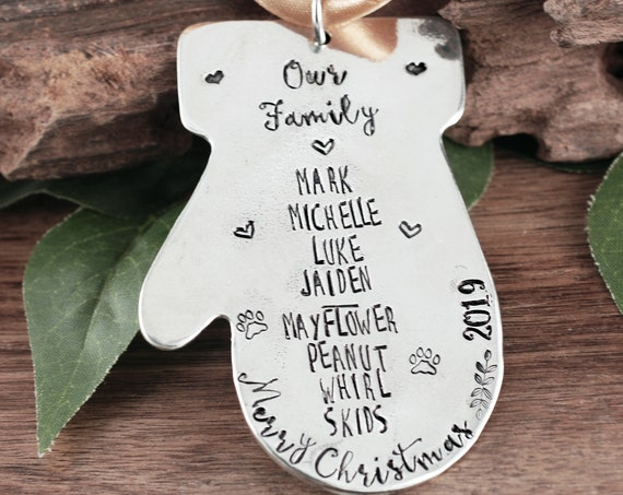 Personalized Family Christmas Ornament, Gingerbread Ornament, Engraved Christmas Ornament, Family Ornament, Christmas Gift for Family