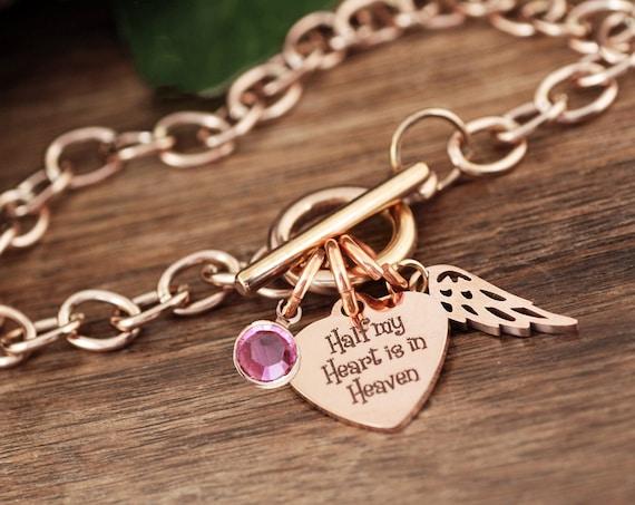 Half My Heart Is In Heaven, Stainless Steel Engraved Charm, Memorial Charm Bracelet, Loss, Bereavement Jewelry, Chain Link Bracelet
