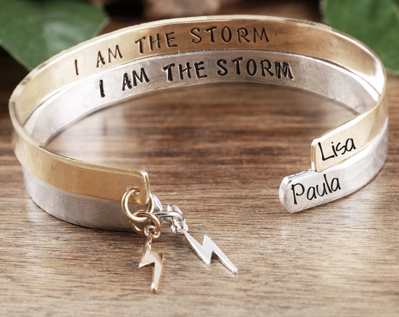 Fate whispered to the Warrior, I am the Storm Bracelet, Inspirational Bracelet, Encouragement Gift, Empowering Jewelry, Lightening Bolt Gift