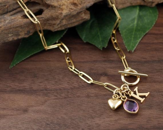 Personalized Birthstone Jewelry, Initial Necklace, Personalized Paperclip Necklace, Chain Link Necklace, Paperclip Chain, Layering Necklace