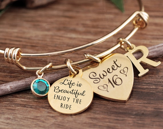 Sweet 16 Gift for Daughter, Personalized Sweet 16 Bracelet, Life is Beautiful Enjoy the Ride, Sweet Sixteen Jewelry, Gift for Teenager