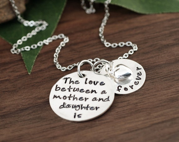 Mother and Daughter is Forever Necklace, Hand Stamped Necklace, Mother's Necklace, Gift for Mom, Mother Daugther Gift, Mommy Jewelry