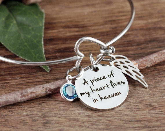 A Piece of my Heart lives in heaven Bracelet, Memorial Gift, Miscarriage Bracelet, Remembrance Bracelet, Loss of Parent, Sympathy Gift