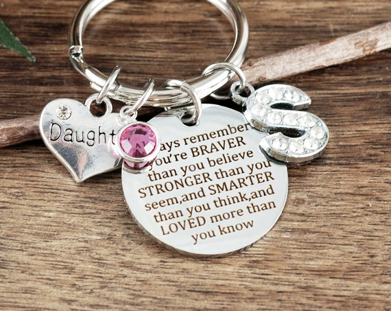 Motivational Gift for Daughter, You Are Braver Than You Believe Stronger Than You Seem, Motivational Keychain, Winnie The Pooh Quote