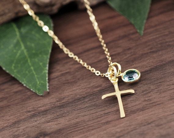 Gold Cross Necklace with Birthstone, Sterling Silver Cross Necklace, Personalized Cross Necklace, Communion Jewelry, Confirmation Gift