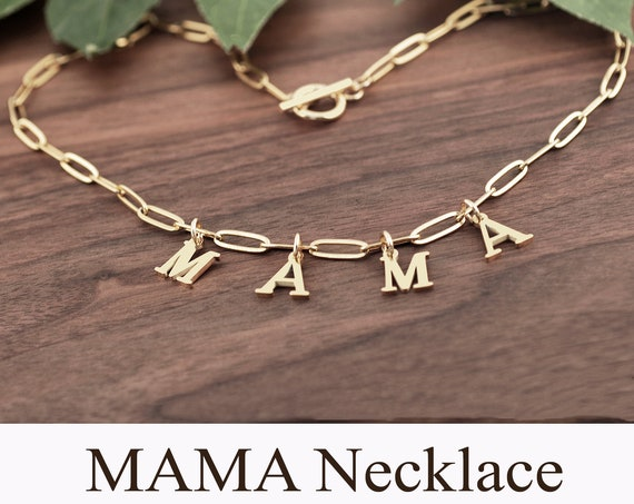 Personalized Mama Necklace, Gold Initial Necklace, Mama Jewelry, Gift for Mama, Mother's Day Gift, Baby Shower, Mom Necklace, New Mom Gift