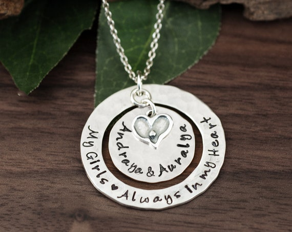 Personalized Name Necklace, Hand Stamped Necklace, Mother's Necklace, Grandma Jewelry, Mother's Day Jewelry, GIft for Mom, Mom Necklace